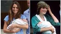<p>Sementara gaun bermotif polkadot yang dipakai Kate Middleton ini disebut mirip dengan gaun yang dikenakan Putri Diana usai melahirkan Pangeran William. (Foto: Dok. Getty Images)</p>