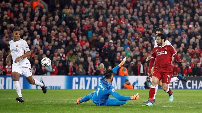 Liverpool meraih modal penting dengan mengalahkan AS Roma 5-2 dalam leg pertama semifinal Liga Champions di Stadion Anfield, Selasa (24/4) waktu setempat.
