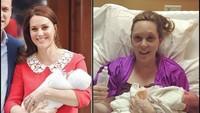 <p>Foto di sebelah kanan adalah seorang ibu 10 jam setelah melahirkan. Masih tampak lelah, tapi senyum bahagianya nggak kalah kok dari Kate Middleton. (Foto: Instagram/ annagreeno)</p>
