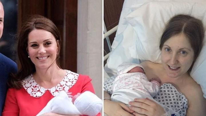 <p>Hanya 7 jam setelah melahirkan, Kate Middleton terlihat begitu mempesona. Sedangkan ibu ini masih terbaring di ranjang rumah sakit sambil memeluk bayinya. Tenang, Bun, Bunda nggak sendiri. (Foto: Instagram @griffindawn)</p>