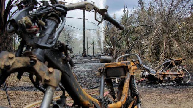 Polisi masih menyelidiki keberadaan belasan kerbau yang diduga hilang di area letusan lumpur bercampur gas di Blora, Jawa Tengah, Kamis (27/8).