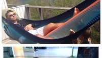 <p>Dulu tidur di hammock, sekarang ayah jadi 'hammock'-nya si kecil. (Foto: Via Instagram @gottoddlered)</p>
