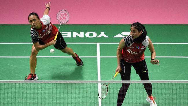 Ganda putri Indonesia Della Destiara/Rizki Amelia dikalahkan pasangan China Chen Qingchen/Jia Yifan di babak semifinal Kejuaraan Bulutangkis Asia.