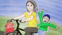 <p>Bunda pun bisa jadi 'driver' dadakan yang harus serba cepat mengantar anak sekolah supaya nggak telat. (Foto: Instagram/ab.bel)</p>