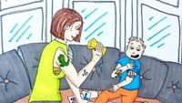 <p>Demi anak, kulit bunda ditempeli tato-tatoan kayak gini pun nggak masalah. (Foto: Instagram/ab.bel)</p>