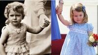 <p>Yang ini foto Putri Charlotte disandingkan dengan sang nenek buyut, Ratu Elizabeth. Mirip nggak, Bun? (Foto: Instagram @theroyalcourier)</p>