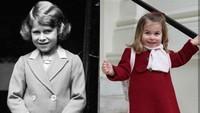 <p>Nenek buyut dan Putri Charlotte sama-sama pakai seragam sekolah. (Foto: Instagram @theroyalcourier)</p>