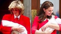 <p>Sama-sama pakai dress merah. Bedanya, Putri Diana menggendong William sedangkan Kate menggendong si bungsu Louis.(Foto: Instagram/ @kristina.odoardi.royal.blog)</p>