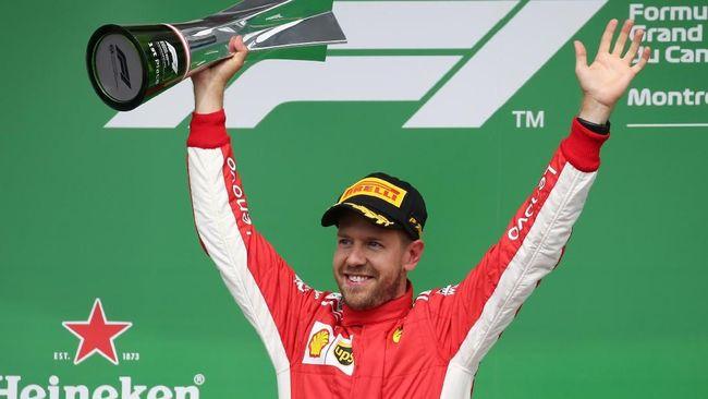 Sebastian Vettel sukses meraih juara F1 GP Kanada di Sirkuit Montreal, Minggu (10/6) malam waktu setempat dan kembali pimpin klasemen.