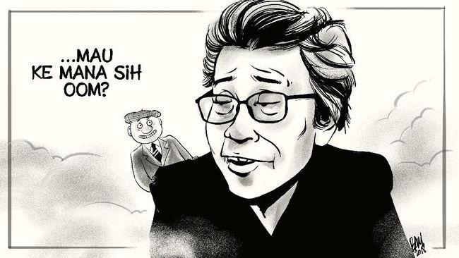 Citra GM Sudarta identik dengan tokoh kartun ciptaannya Oom Pasikom yang gemar melontarkan guyon satir soal pemerintahan.