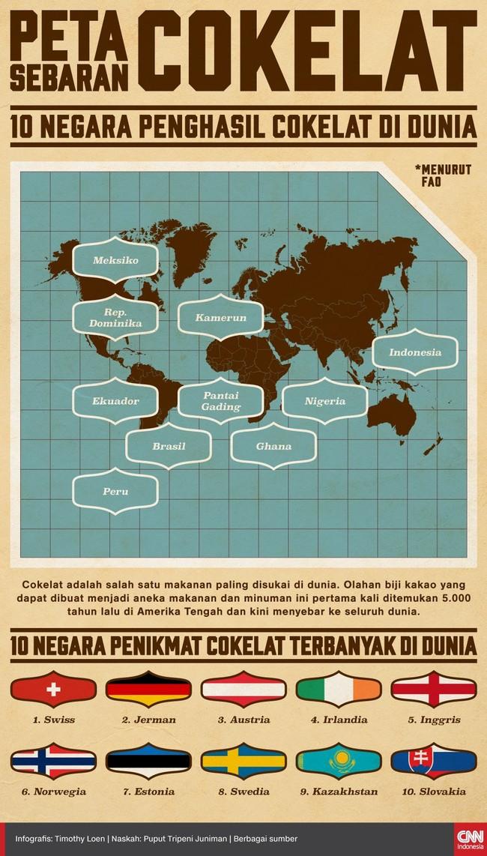 Berikut ini penjelasan mengenai sebaran cokelat di dunia.