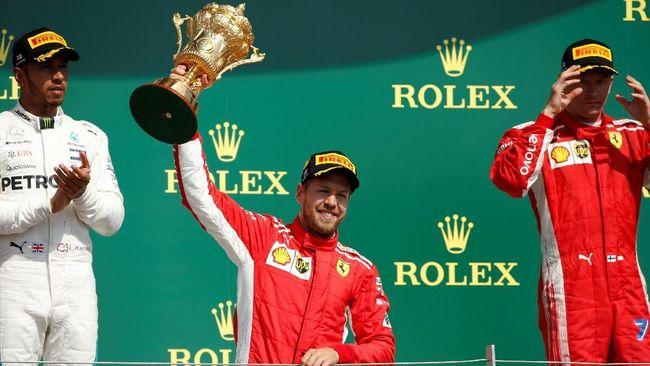Lewis Hamilton sempat kecelakaan, Sebastian Vettel berhasil memenangkan Formula One (F1) Grand Prix Inggris di Sirkuit Silverstone, Minggu (8/7).