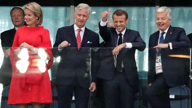 Presiden Prancis Emmanuel Macron berjanji ke Kylian Mbappe dan kawan-kawan akan menyaksikan langsung final Piala Dunia 2018 di Stadion Luzhniki.