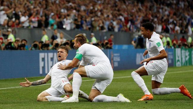 Timnas Inggris untuk sementara unggul 1-0 atas Kroasia pada babak pertama semifinal Piala Dunia 2018 yang dihelat di Stadion Luzhniki.
