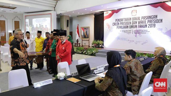 Koalisi partai politik pendukung Joko Widodo berkonsultasi ke KPU tentang teknis pendaftaran Capres-Cawapres, mulai dari dokumen persyaratan hingga batas waktu.