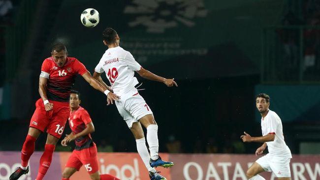 Timnas Indonesia tumbang di hadapan Palestina pada laga kedua grup A Asian Games 2018 di Stadion Patriot Candrabhaga, Rabu (15/8).