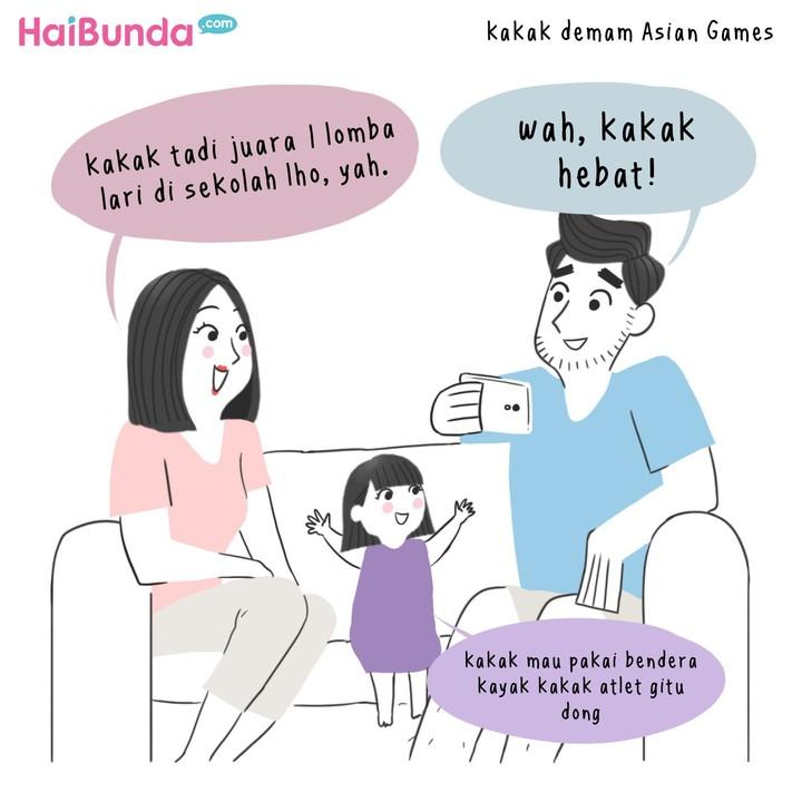Keluarga bunda di komik ini 'demam' Asian Games 2018 lho. Apakah keluarga Bunda juga mengalaminya? Share yuk di kolom komentar.