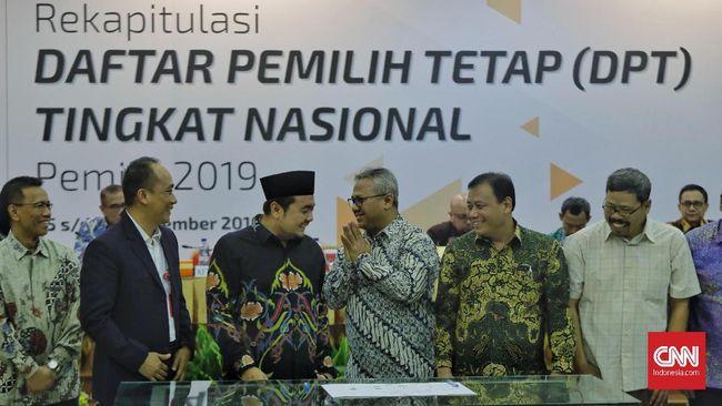 Sebelum mengumumkan Daftar Pemilih Tetap (DPT), KPU menggelar rapat pleno terbuka, di Kantor KPU RI, Jalan Imam Bonjol, Menteng, Jakarta Pusat, Rabu (5/9).