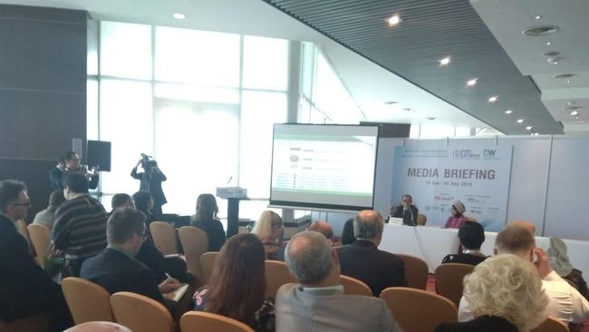 Media-media asing terpana dengan paparan Kemenpar di sesi Media Briefing Incentive Travel & Convention, Meeting Asia (IT&CMA) 2018.