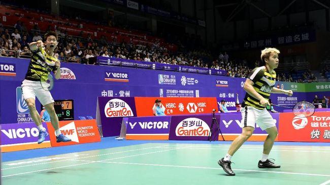 Ganda putra Indonesia Kevin Sanjaya Sukamuljo/Marcus Fernaldi Gideon berhasil melaju ke perempat final Denmark Open 2018 usai menyingkirkan Jerman.