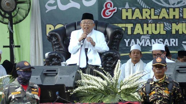 Ma'ruf Amin menuturkan pihaknya memasang target tinggi dengan harapan bisa mengungguli Prabowo-Sandiaga dengan 70 persen suara di Depok, Jawa Barat.