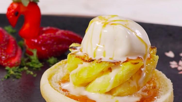 Menu pencuci mulut berupa paduan nanas dan es krim? Resep nanas panggang ice cream ini bisa dicoba, Bun.