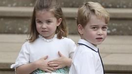 FOTO:Tingkah Gemas George dan Charlotte di Pernikahan Eugenie