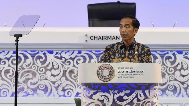 Presiden Joko Widodo menyampaikan pidato dengan mengibaratkan kondisi ekonomi global dengan film serial Game of Thrones saat di Bali pada hari ini.