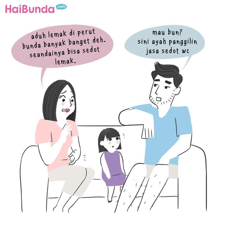 Begini reaksi ayah di komik ini saat bunda kepikiran jalani operasi plastik. Kalau Bunda bilang tertarik operasi plastik, kira-kira reaksi suami gimana nih?