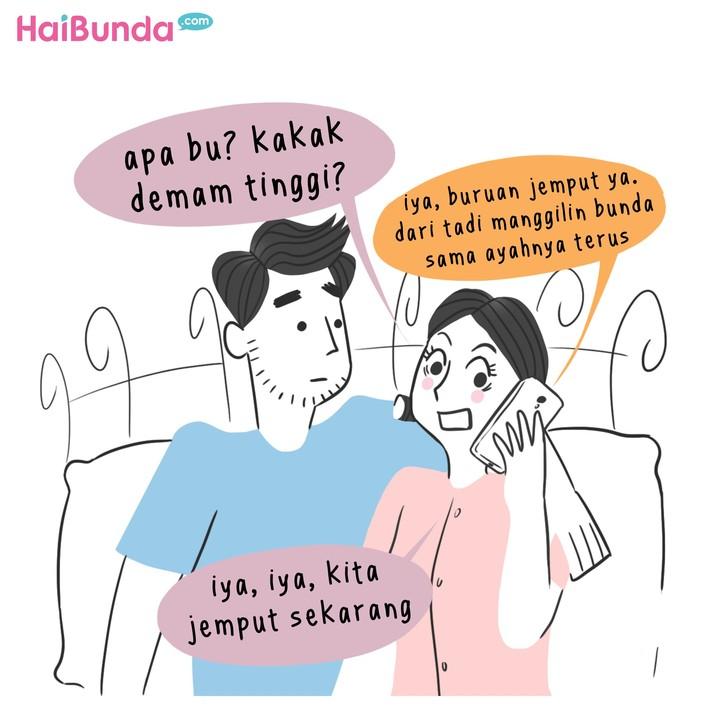 Begini cerita Bunda dan Ayah di komik ini saat ingin mencari waktu untuk 'ehem'. Nah, Bunda dan suami punya cerita apa terkait waktu 'ehem'. Share dong, Bun.