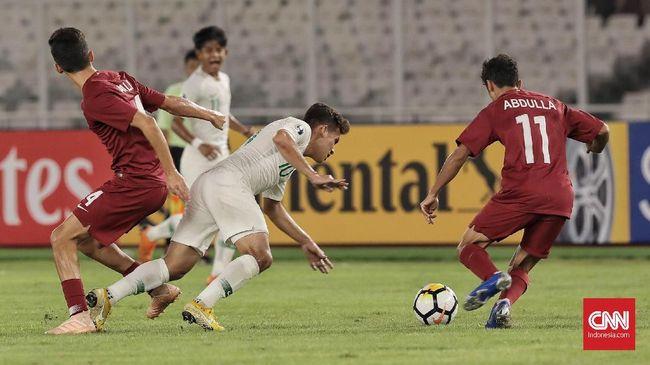 Timnas Indonesia U-19 kalah 5-6 dari Qatar dalam pertandingan kedua Grup A Piala Asia U-19 2018 di Stadion Utama Gelora Bung Karno, Minggu (21/10).