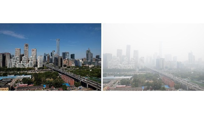 Sembilan bulan belakangan, warga Beijing menikmati satu hal yang sangat jarang mereka rasakan, menghirup udara bersih di bawah langit biru, tanpa polusi tebal.