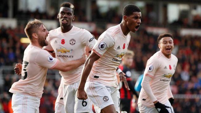 Manchester United berhasil meraih kemenangan dramatis usai mengalahkan Bournemouth 2-1 pada pekan ke-11 Liga Primer Inggris di Stadion Vitality, Sabtu (3/11).