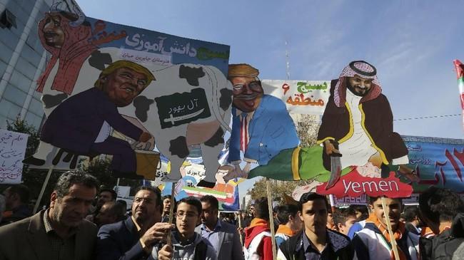Pekik 'Matilah Amerika' menggema di penjuru Iran ketika ribuan orang berunjuk rasa menjelang penjatuhan kembali sanksi oleh Amerika Serikat pada Senin (5/11).