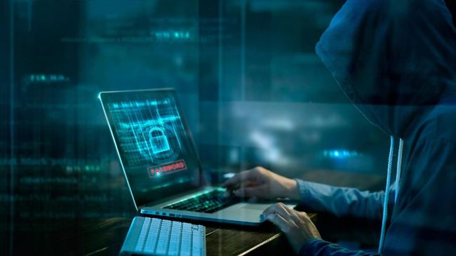 Cyber attack or computer crime hacking password on a dark background.