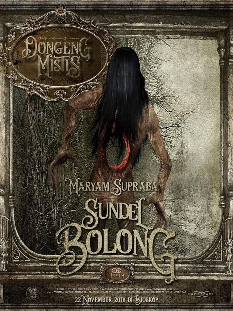 Sundel Bolong (Maryam Supraba). Mitos hantu yang digambarkan sebagai wanita cantik berambut panjang dan bergaun panjang warna putih. Namun bagian punggung berlubang sehingga organ-organ tubuh bagian perut terlihat.