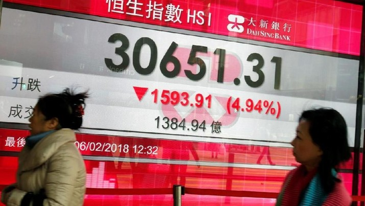 A panel displays the closing morning trading Hang Seng Index outside a bank in Hong Kong, China February 6, 2018. REUTERS/Bobby Yip - PT Rifan