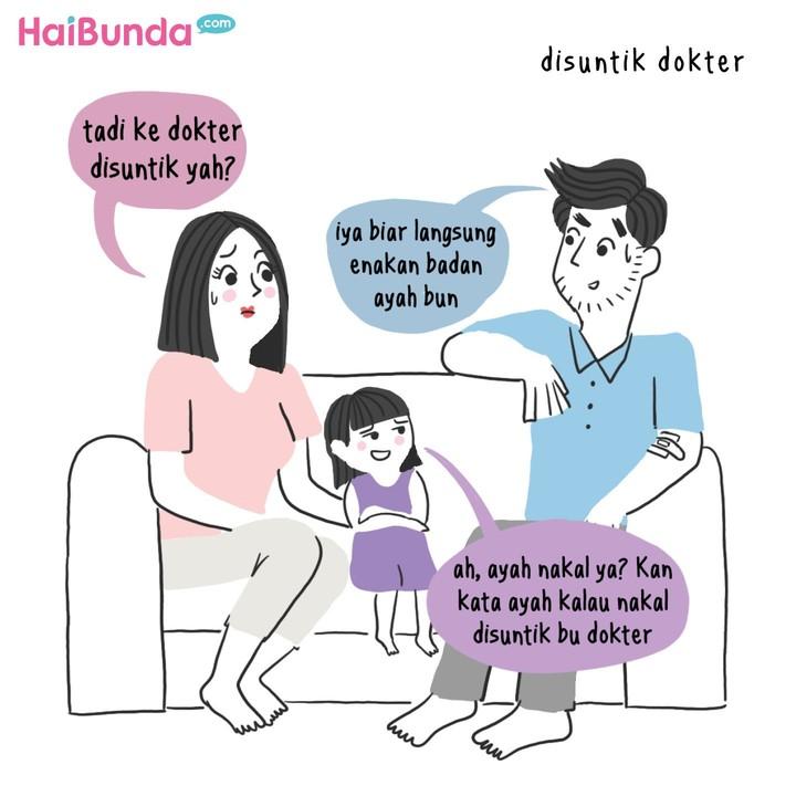 Bunda dan suami sama kayak ayah di komik ini, pernah menakuti anak supaya nurut? Share yuk ceritanya di kolom komentar.