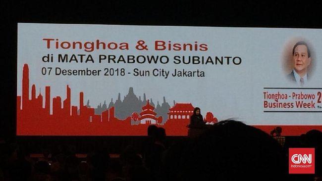 Dalam Gala Dinner ratusan pebisnis Tionghoa bersama Prabowo Subianto, diputar berbagai video perjalanan karier Prabowo hingga pidatonya di Reuni 212.