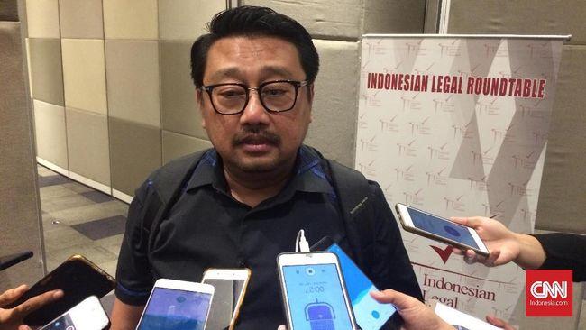 Wakil Sekjen Partai Demokrat Rachland Nassidik usai diskusi yang dihelat Indonesia Legal Roundtable di Artotel, Jakarta, Senin (10/12)