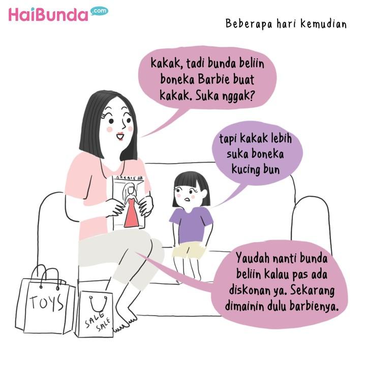 Apa sih cerita Bunda dan Ayah saat beli mainan untuk anak? Sama nggak dengan Bunda dan Ayah di komik ini?