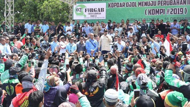 Sekelompok ojol yang mendeklarasikan mendukung salah satu Calon Presiden nomor 2 di Sentul kemarin disebut ekspresi politik sekelompok ojek online.