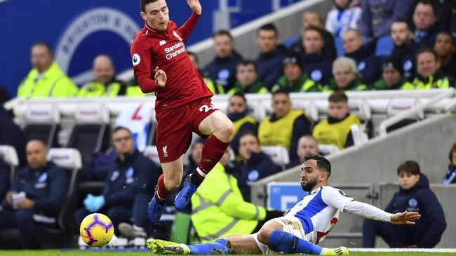 Liverpool meraih kemenangan perdana pada 2019. Gol kemenangan atas Brighton & Hove Albion dicetak Mohamed Salah dari titik 12 pas Stadion Amex, Sabtu (12/1).