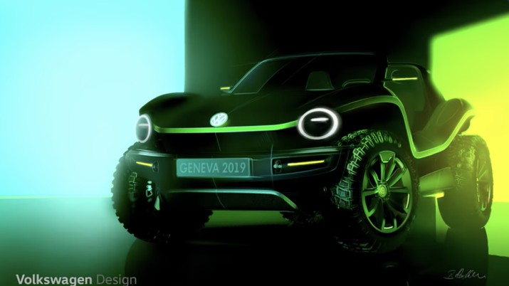 Kendaraan konsep dune buggy listrik Volkswagen (VW via CNBC.com)