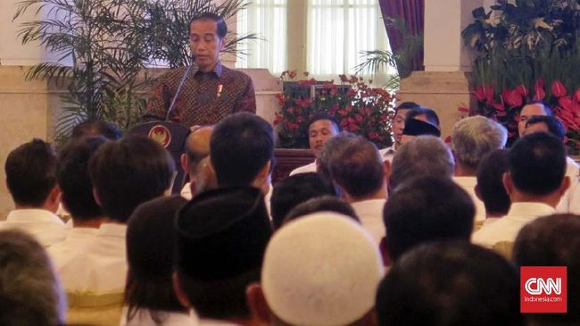 Jokowi menghadiri perayaan Imel Nasional 2019 di JI-EXPO bersama sejumlah tokoh seperti Presiden ke-5 Megawati Soekarnoputri dan Wapres ke-6 Try Soetrisno.