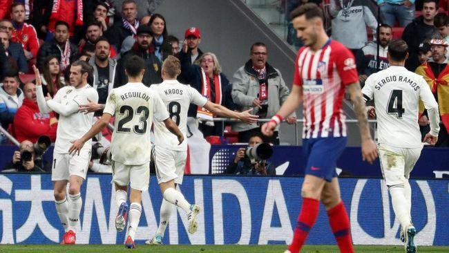 Real Madrid Menang 3-1 atas Atletico Madrid dalam Derby Madrid di Stadion Wanda Metropolitano dalam lanjutan pertandingan La Liga, Sabtu (9/2).