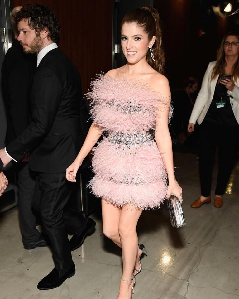 Anna Kendrick tampil girly saat datang ke Grammy Awards 2019 dengan gaun pendek berwarna pink dengan aksen bulu-bulu. Riasan Anna Kendrick juga tampak natural dan cantik banget ya.