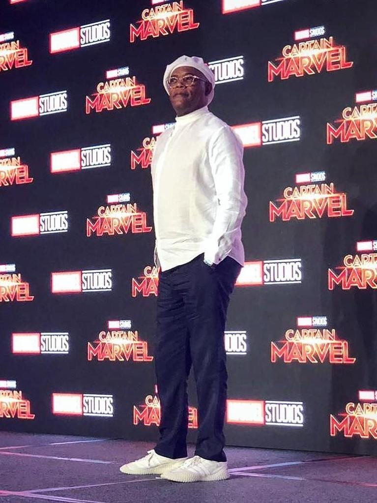 Aktor ternama, Samuel L. Jackson, terlihat begitu bahagia menghadiri press converence kali ini. Sosok Nick Fury sendiri akan berperan banyak di dalam film ini.