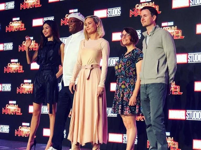 Digelar di Marina Bay Sands Expo and Convention Center, Singapura, momen jumpa pers Captain Marvel ini adalah yang pertama kalinya.
