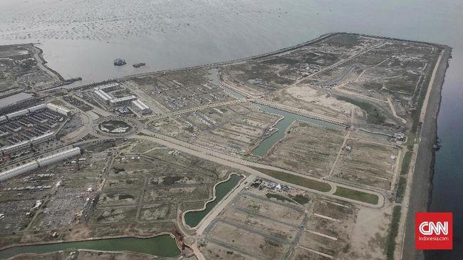 Pemandangan Pulau Reklamasi dilihat dari atas Teluk Jakarta, Sabtu, 16 Februari 2019.  CNNIndonesia/Safir Makki